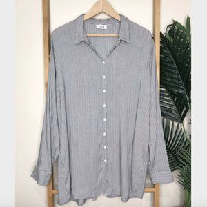 Seed Heritage Grey Striped Open Back Shirt Top M-L